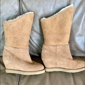 Chestnut Suede Cozy Tall Wedge Boots , size 9
